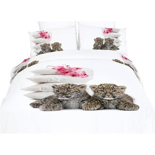 Dolce Mela Baby Leopards Cotton Duvet Cover and Fitted Sheet Set