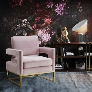 Avery Mauve Velvet And Stainless Steel Chair