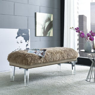 Luxe Brown Sheepskin Brass Nailhead Lucite Bench