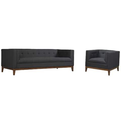 Gavin Mid-century Grey Linen Living Room Set