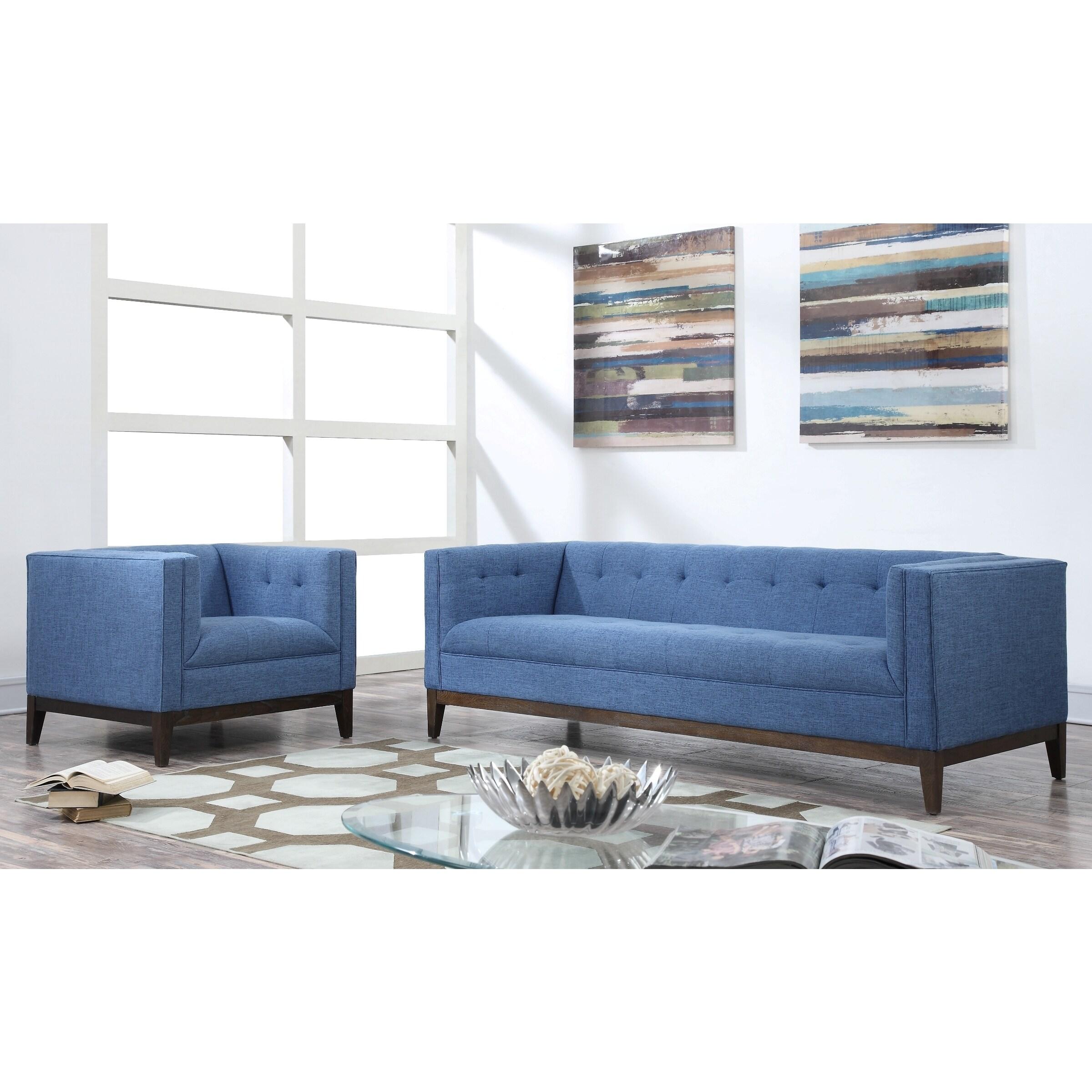Gavin Mid-century Blue Linen Living Room Set (Gavin Blue Linen Living Room Set)