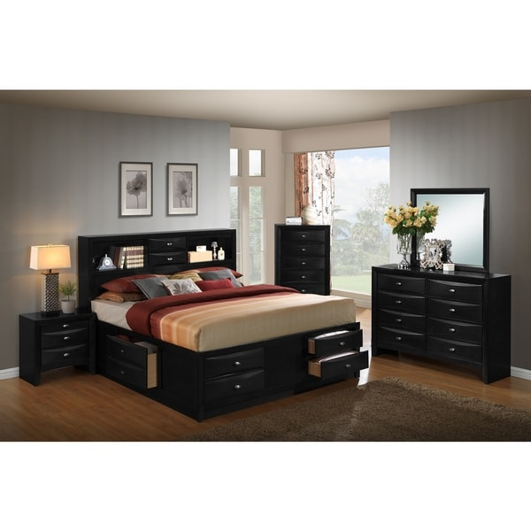 Blemerey 110 Black Wood Storage Bed Group with Queen Bed, Dresser, Mirror, Night Stand and Chest