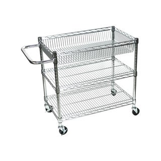 Offex OF-LICWT2918 Silver Wire 3-tier Tub Cart