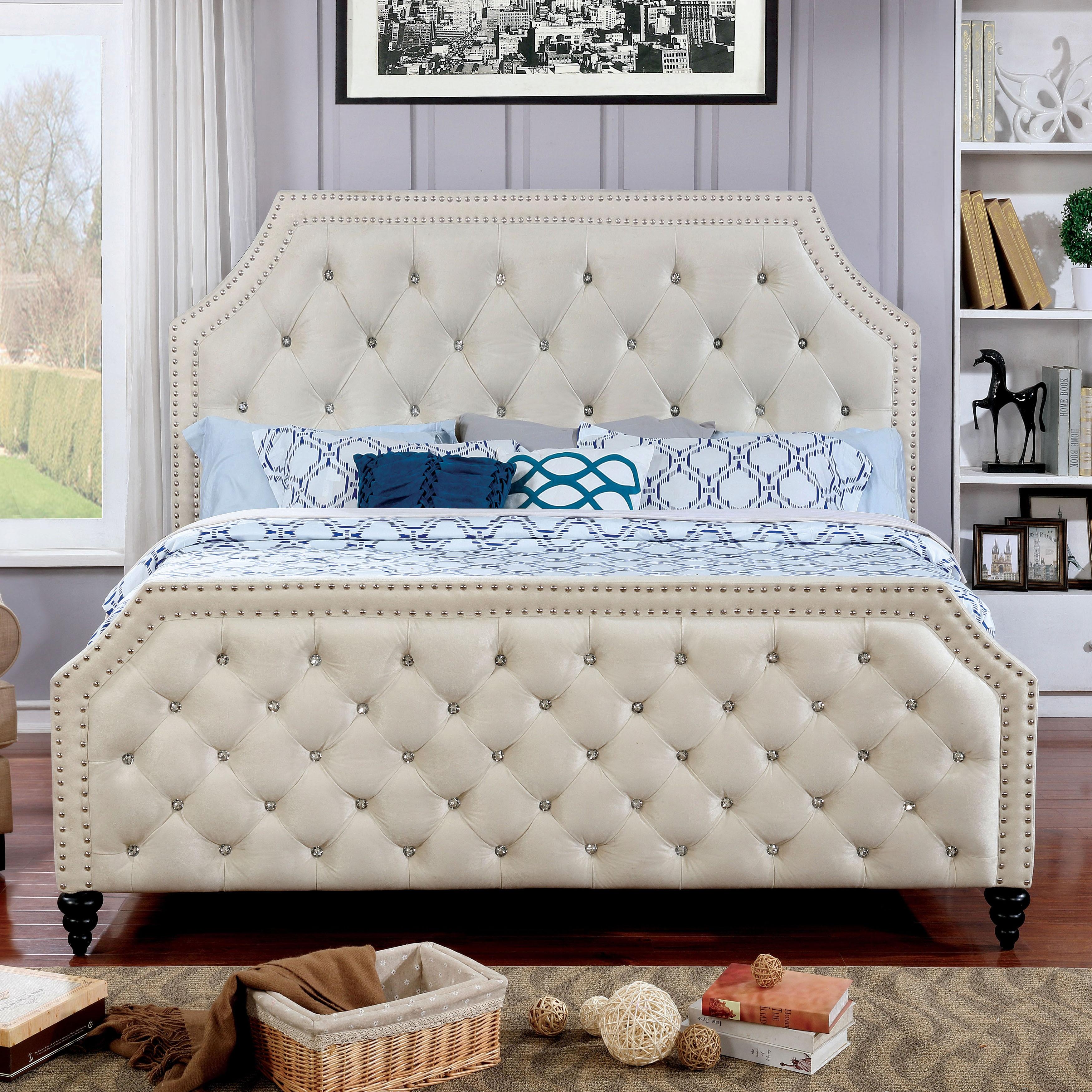 Pele Contemporary Full Beige Bed by FOA (Beige)