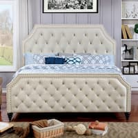 Furniture of America Pele Contemporary Beige Fabric Tufted Full-Size Bed