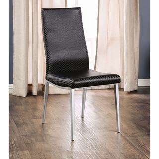 Furniture of America Lena Modern Textured Black Leatherette Dining Chair (Set of 2)