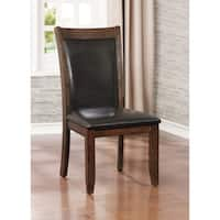 Furniture of America Grover Rustic Upholstered Brown Cherry Dining Chair (Set of 2)