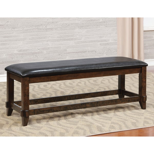 Great Furniture Of America Grover Rustic Upholstered Brown Cherry Dining Bench
