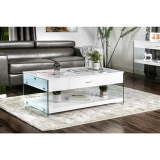 Furniture of America Leden Contemporary Glass Panel 1-drawer Coffee Table