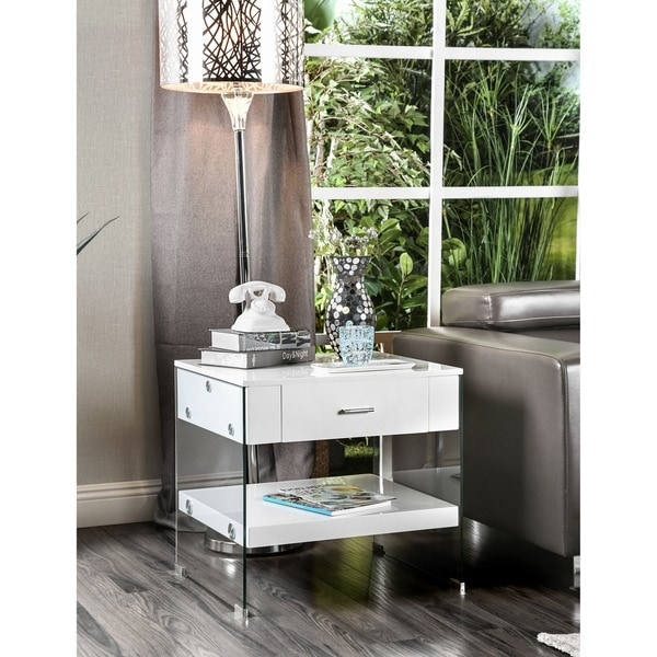 Furniture of America Shan Contemporary Glass Open Shelf End Table