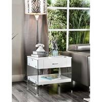 Furniture of America Leden Contemporary Glass Panel 1-drawer End Table