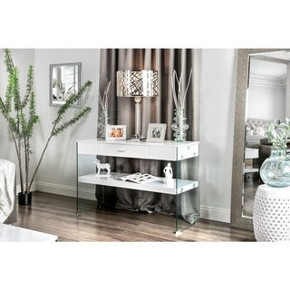 Furniture of America Leden Contemporary Glass Panel Single Drawer Sofa Table