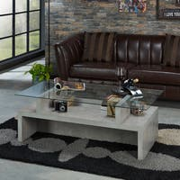 Furniture of America Gegorin Modern Industrial Style Glass Top Coffee Table