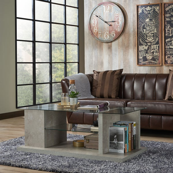 Furniture of America Pilar Modern Industrial Style Glass Top ...