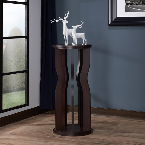 Furniture of America Tula Contemporary Tall Walnut Round End Table