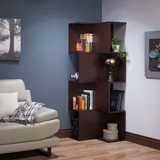 Furniture of America Henley Contemporary Alternating 12-shelf Corner Walnut Bookcase