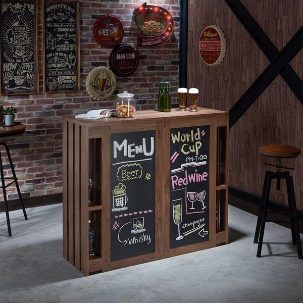 Beau Furniture Of America Klicken Contemporary Multi Shelf Chalkboard Walnut Bar  Table
