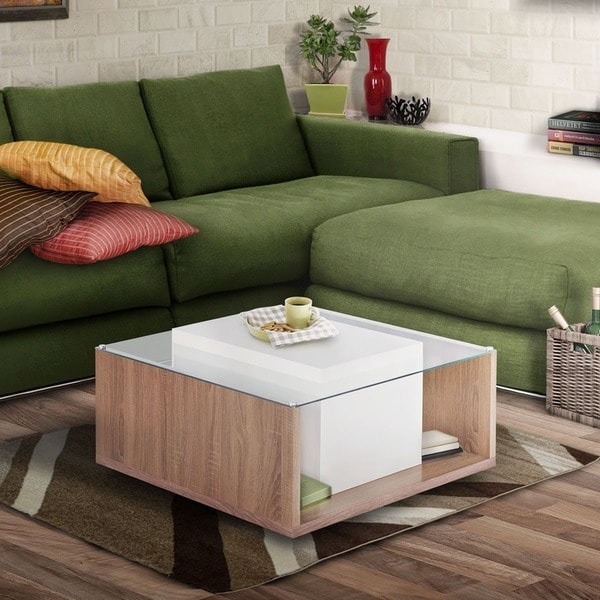 Charmant Furniture Of America Carla Contemporary Multi Storage Glass Top White  Coffee Table