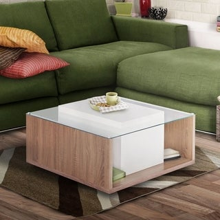 Furniture of America Carla Contemporary Multi-storage Glass Top Chestnut Brown/White Coffee Table