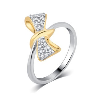 Divina Sterling Silver Two-tone 1/8ct Diamond Twisted Bow Fashion Ring.(I-J,I3).