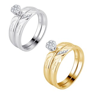 Divina 10K White and Yellow Gold 1/6ct TDW Diamond Bridal Set comes in a box. (H-I,I3)