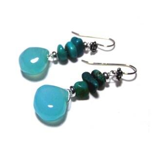Blue KingMan Turquoise Polished Chalcedony Earrings