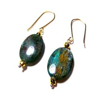 Green Kyanite Vermeil Hook Earrings