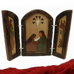 Wood Inlaid Triptych Nativity Scene (Argentina) - Thumbnail 1