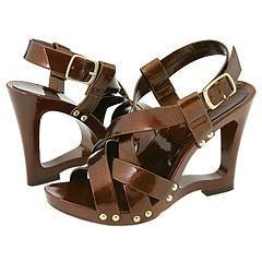 Charles David Jester Dark Brown Pearl Patent Sandals