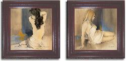 Patricia Pinto 'Waking Woman (blue)' 2-piece Canvas Art