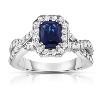 Noray Designs 14K White Gold Blue Sapphire & Diamond (0.85 Ct, G-H Color, I1-I2 Clarity) Braided Ring