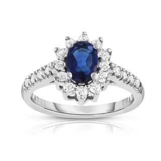 Noray Designs 14K White Gold Oval Blue Sapphire & Diamond (0.40 Ct, G-H Color, I1-I2 Clarity) Ring