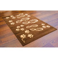 "Doortex | Wash Room Mat | Boot print and paw print Design | Size 24"" x 39"""