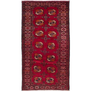 Ecarpetgallery Hand-Knotted Finest Baluch Red Wool Rug (3'7 x 7'1)
