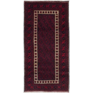 ecarpetgallery Hand-Knotted Finest Baluch Red  Wool Rug (2'11 x 6'1) - 2'11 x 6'1