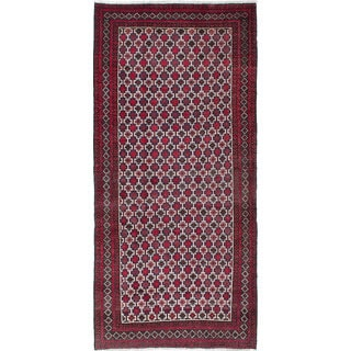 Ecarpetgallery Hand-Knotted Finest Baluch Ivory, Red Wool Rug (3'4 x 7'1)