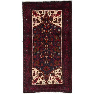 ecarpetgallery Hand-Knotted Finest Baluch Blue, Red Wool Rug (3'2 x 5'11)