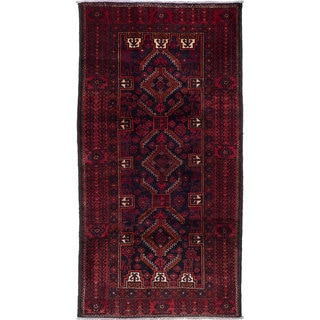 Ecarpetgallery Hand-Knotted Finest Baluch Blue, Red Wool Rug (4' x 7'9)