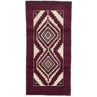 Ecarpetgallery Hand-Knotted Finest Baluch Blue, Red Wool Rug (2'10 x 6')
