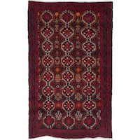 Ecarpetgallery Hand-Knotted Finest Baluch Red Wool Rug (2'11 x 4'11)