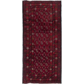 Ecarpetgallery Hand-Knotted Finest Baluch Red Wool Rug (4'4 x 9'4)