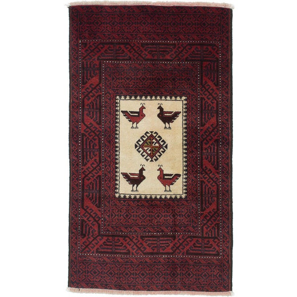 ecarpetgallery Hand-Knotted Finest Baluch Red Wool Rug - 2'11 x 5'2