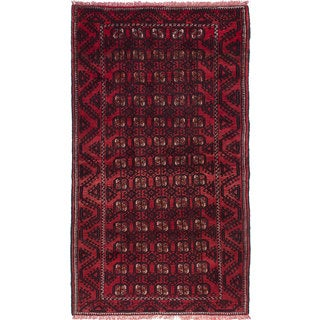 Ecarpetgallery Hand-Knotted Finest Baluch Red Wool Rug (4'2 x 7'5)