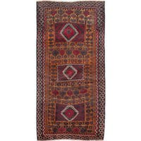 Ecarpetgallery Hand-Knotted Finest Baluch Brown, Red Wool Rug (3'5 x 6'11)