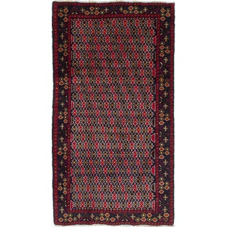 Ecarpetgallery Hand-Knotted Finest Baluch Blue, Red Wool Rug (3'7 x 6'10)