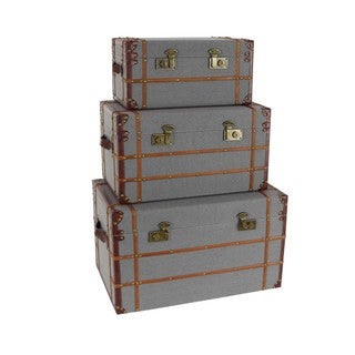 Wood Fabric Trunk, Set Of 3