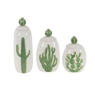 Embossed Cactus Designed Ceramic Jar, Set Of 3