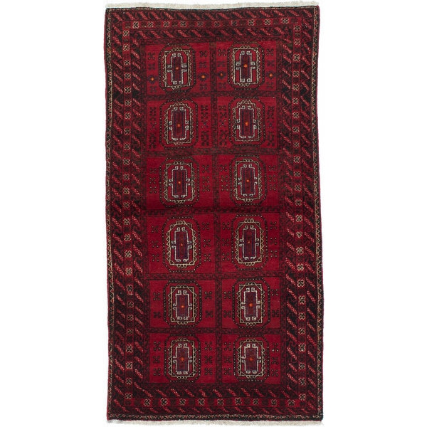 Ecarpetgallery Hand-Knotted Finest Baluch Red Wool Rug (2'9 x 5'4)