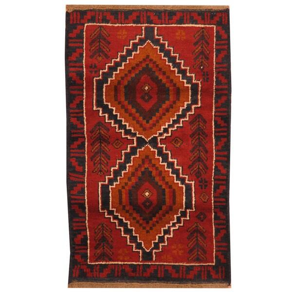 Handmade Herat Oriental Afghan Tribal Balouchi Wool Rug - 2'7 x 4'5 (Afghanistan)