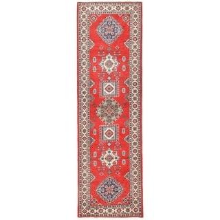 Herat Oriental Afghan Hand-knotted Vegetable Dye Kazak Wool Runner (2'9 x 9'4)